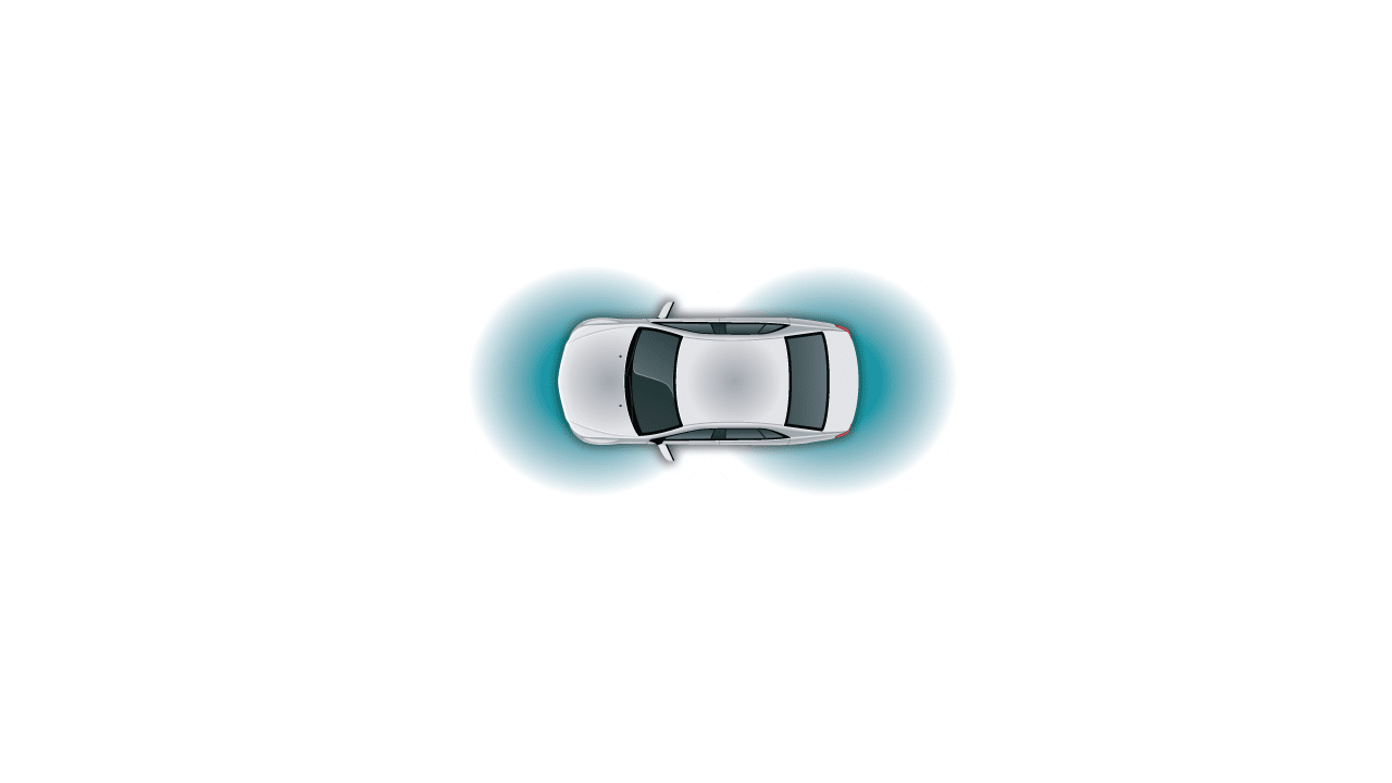 automotive white car top view  teal ultrasonic sensor