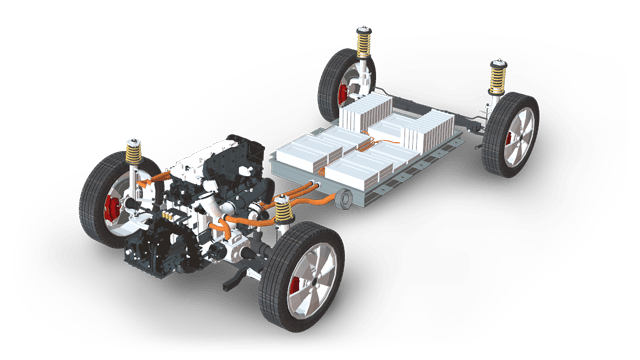automotive chassis with engine