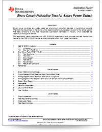 automotive short-circuit reliability test application note cover sheet