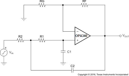 OPA340 OPA2340 OPA4340 2 pole low pass schematic.png