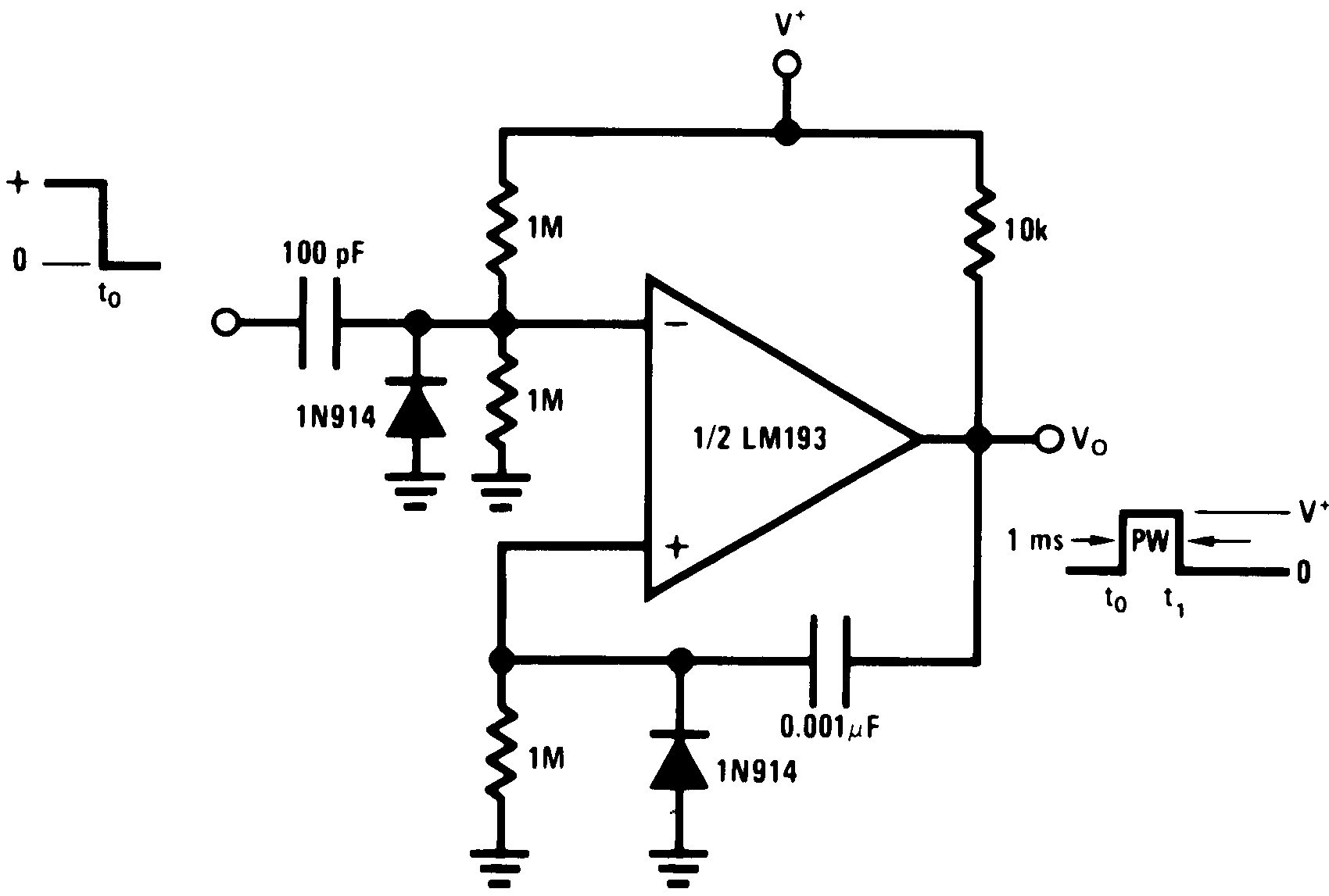 Lm2903 N 555 Timer Monostable Oneshot Circuit Lm193 Lm293 Lm393 00570922 Figure 32 One Shot Multivibrator